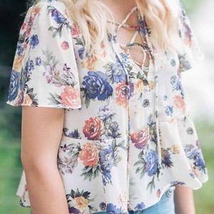 Urban Outfitters Floral Lace-Up Blouse